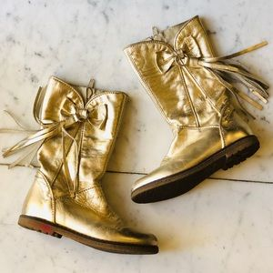 Little Eric Gold Fringe Leather Boots 10 toddler